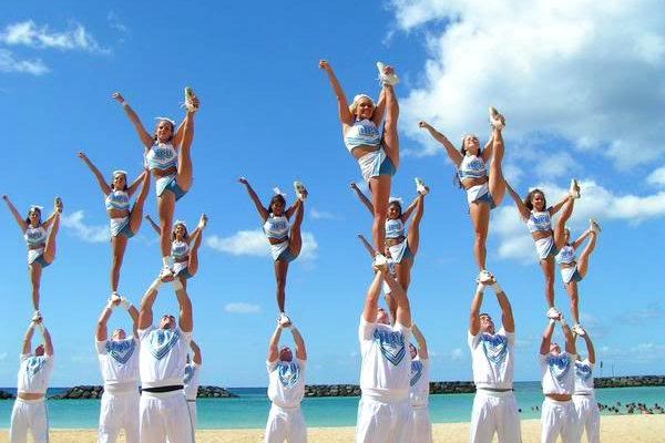 cheer Cheerleading competitive Miami Florida beach stunt liberty coed