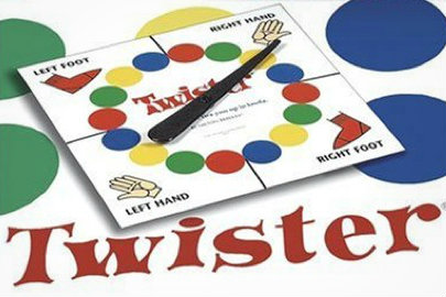 twister colored dots stretching game