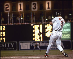 Cal Ripken Jr. breaks Lou Gehrig's record of 2,131 consecutive games played