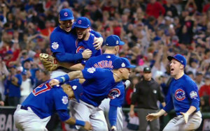 chicago cubs celebrate winning their first world series title in 108 years