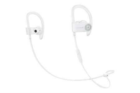 white wrap-around the ear headphones