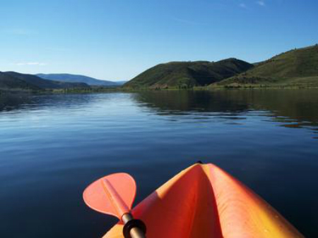 Front of kayak view on the water of Rockport Reservoir
