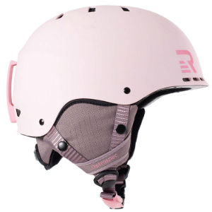 Light pink snowboarding helmet