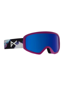 Women's blue reflective goggles