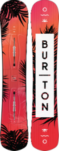 Burton orange-red-pink leaf women's snowboard